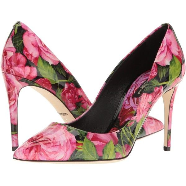 Rose-print patent-leather pumps Dolce & Gabbana h3PynGCN