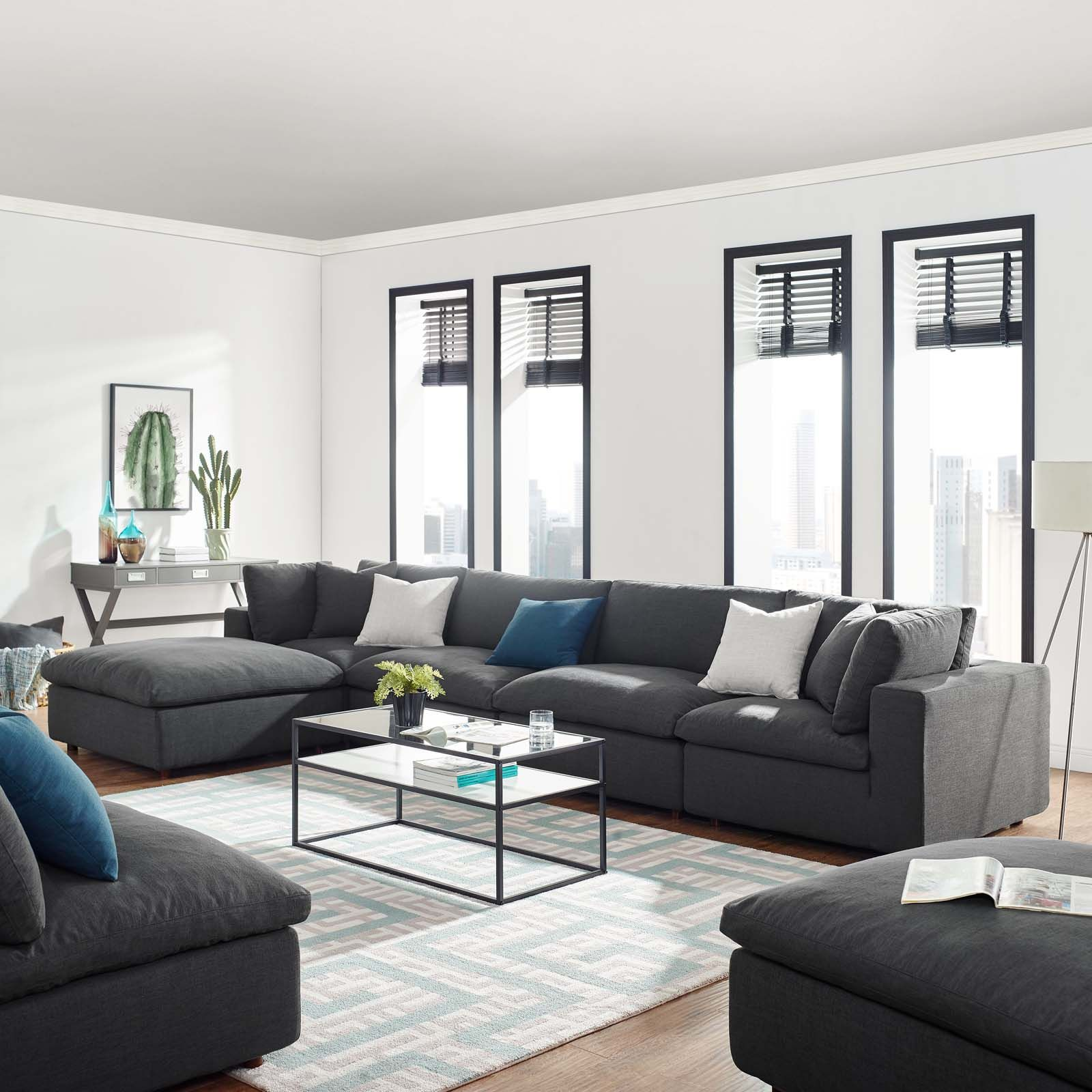 Photo of Commix Down Filled Overstuffed 5 Piece Sectional Sofa Set by Modway – Gray