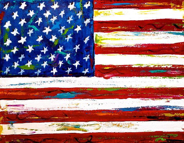 Julie Janney American Flag Paintings United States Art Canvas Print Painting