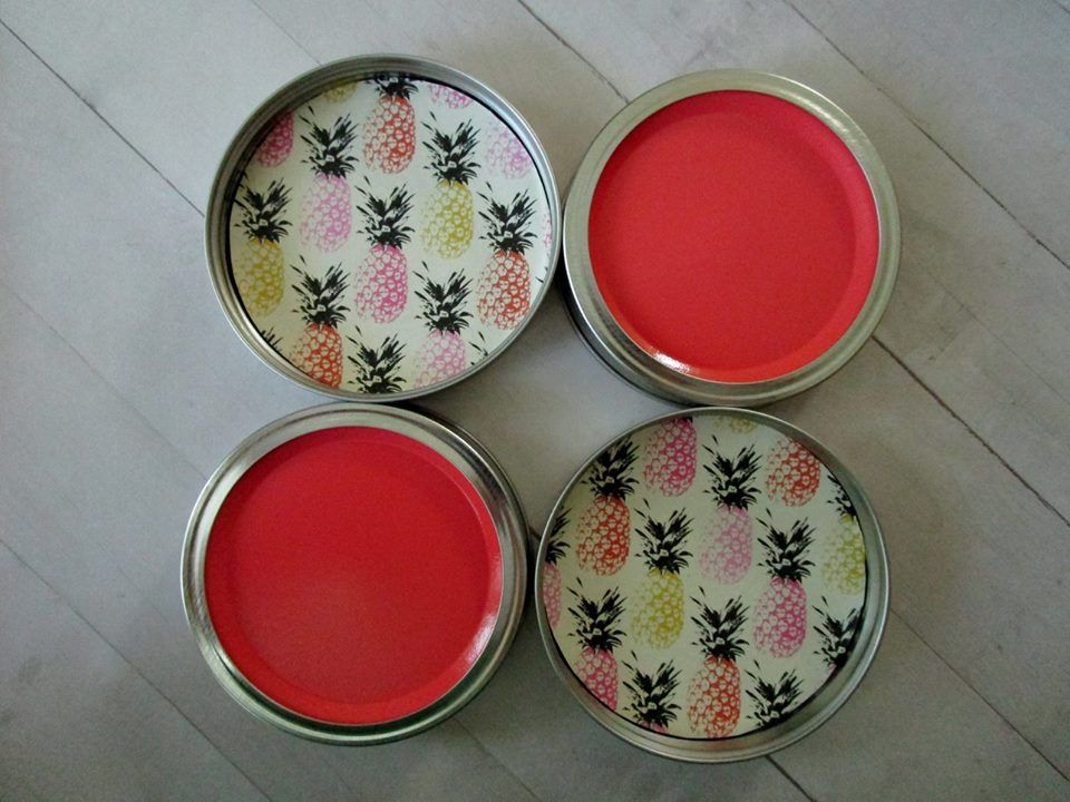 Retro Pineapple Coaster Set Each Coaster Is Painted Coral - Cork coaster bottoms