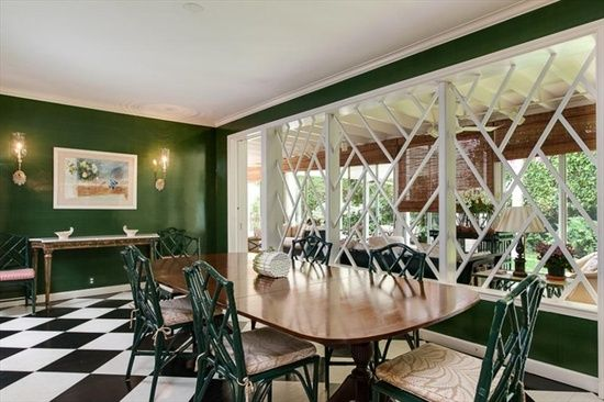 Dark Green Dining Room Walls White Trim And Fretwork Paint It Delectable Green Dining Room Walls Design Ideas