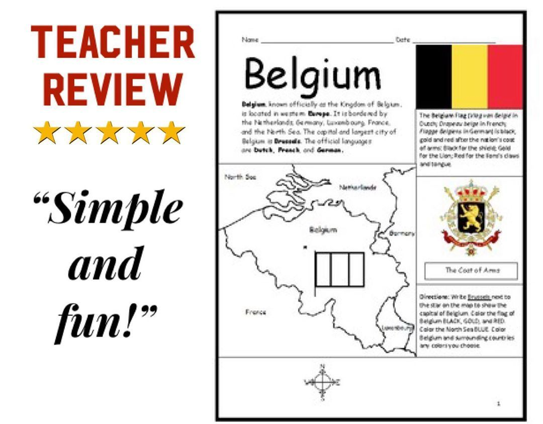 Interactive Printables On Instagram Introduce Your Learners To The Country Of Belgium In Eu In 2020 How To Introduce Yourself Maps For Kids Geography Worksheets