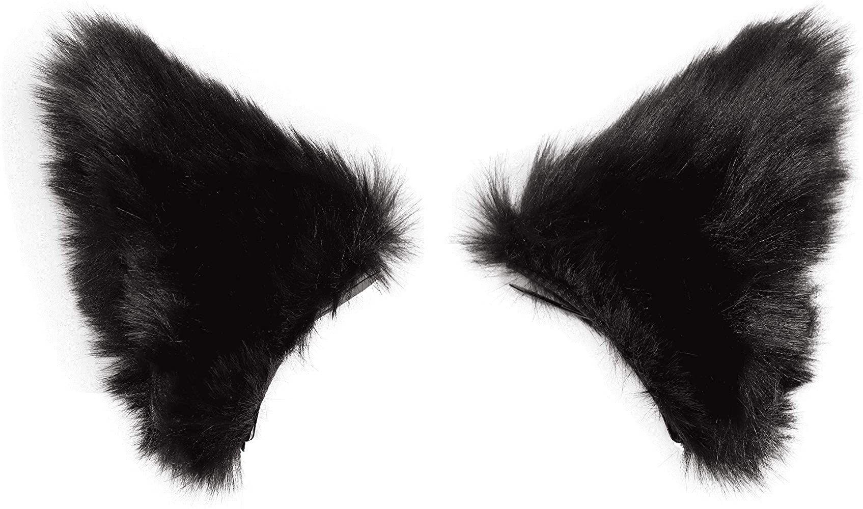 Amazon Com Cat Fox Long Fur Ears Headband Ear Clips Headwear Anime Cosplay Halloween Costume All Black Clothing Overlays Cute Cat Headband Cosplay Anime