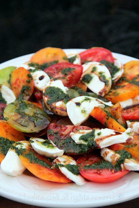 Caprese salad with heirloom tomatoes