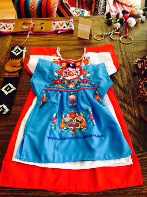 Adorable Puebla Girl's dresses hand embroidered by artisans in Mexico