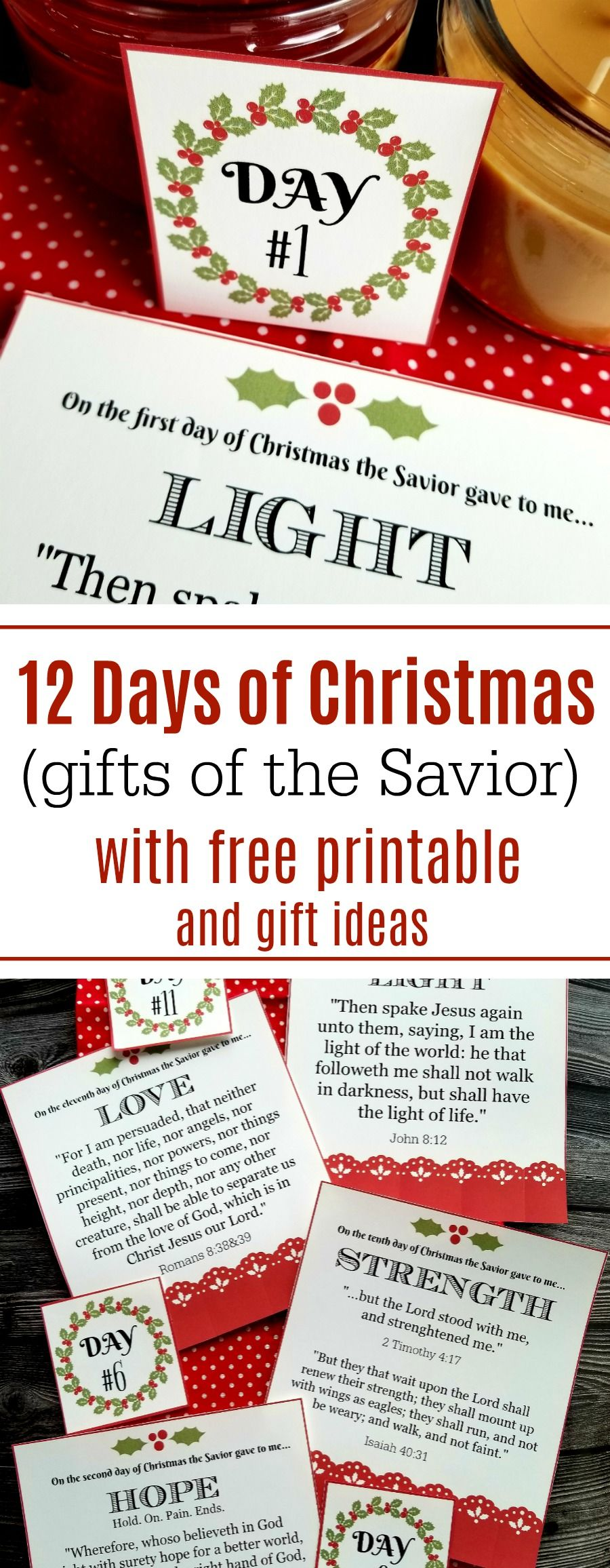 12 Days Of Christmas Gifts Of The Savior With Free Printable Cards And Gift Ideas From Jamie Cooks 12 Days Of Christmas Christmas Scripture Family Christmas