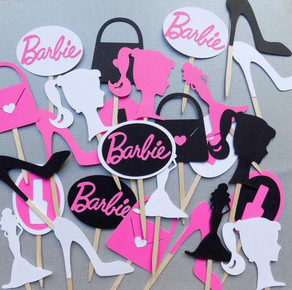 24 Barbie Cupcake Toppers Pink and Black by PapermadeParties  Mireya ...