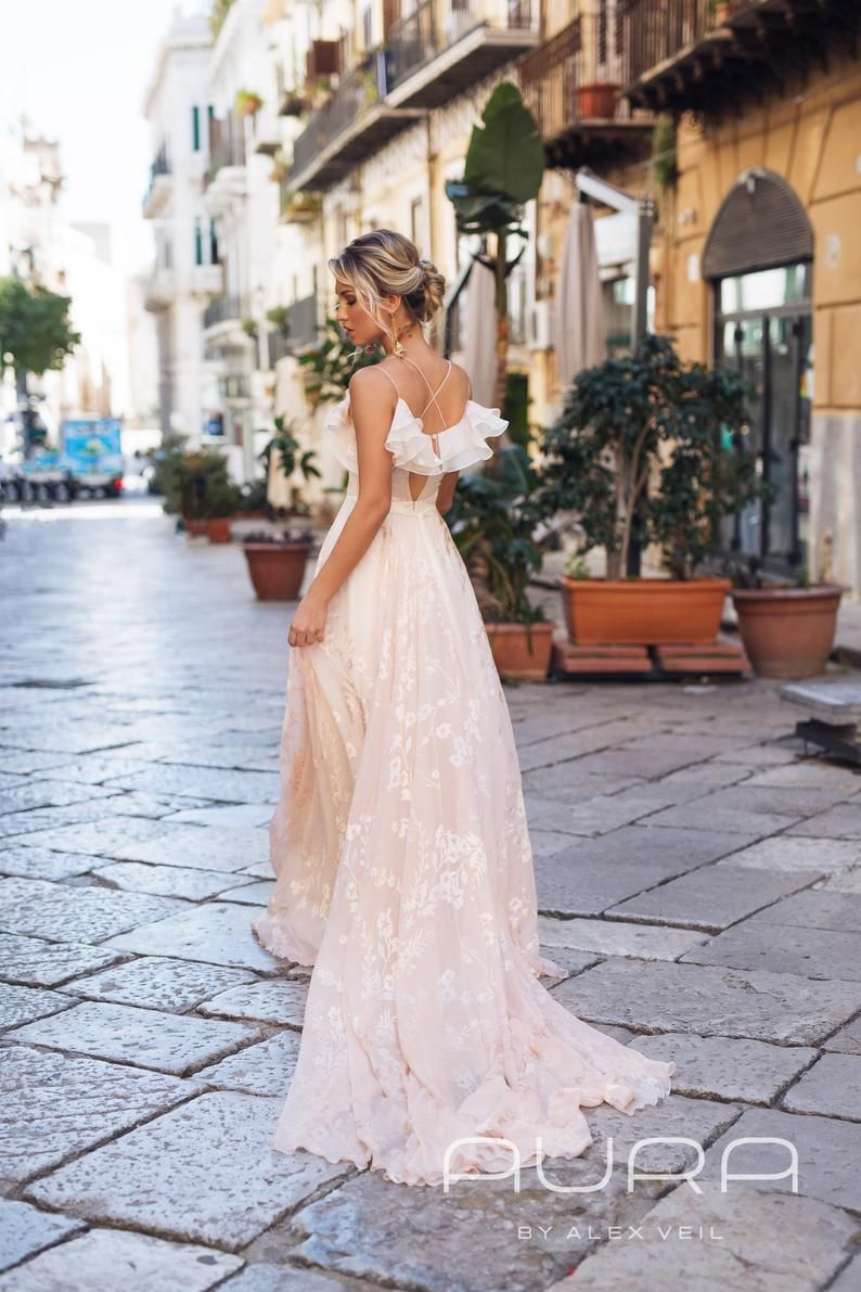 Wedding Dress Astra Blush Wedding Gown With Very Etsy Light Pink Wedding Dress Blush Wedding Gown Wedding Dresses