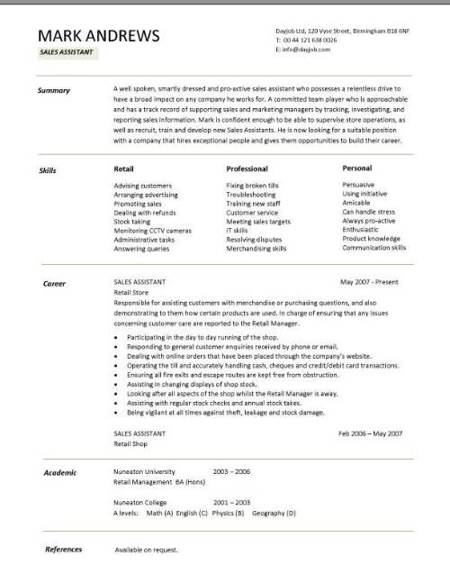Retail CV template, sales environment, sales assistant CV, shop - retail sales associate job description for resume