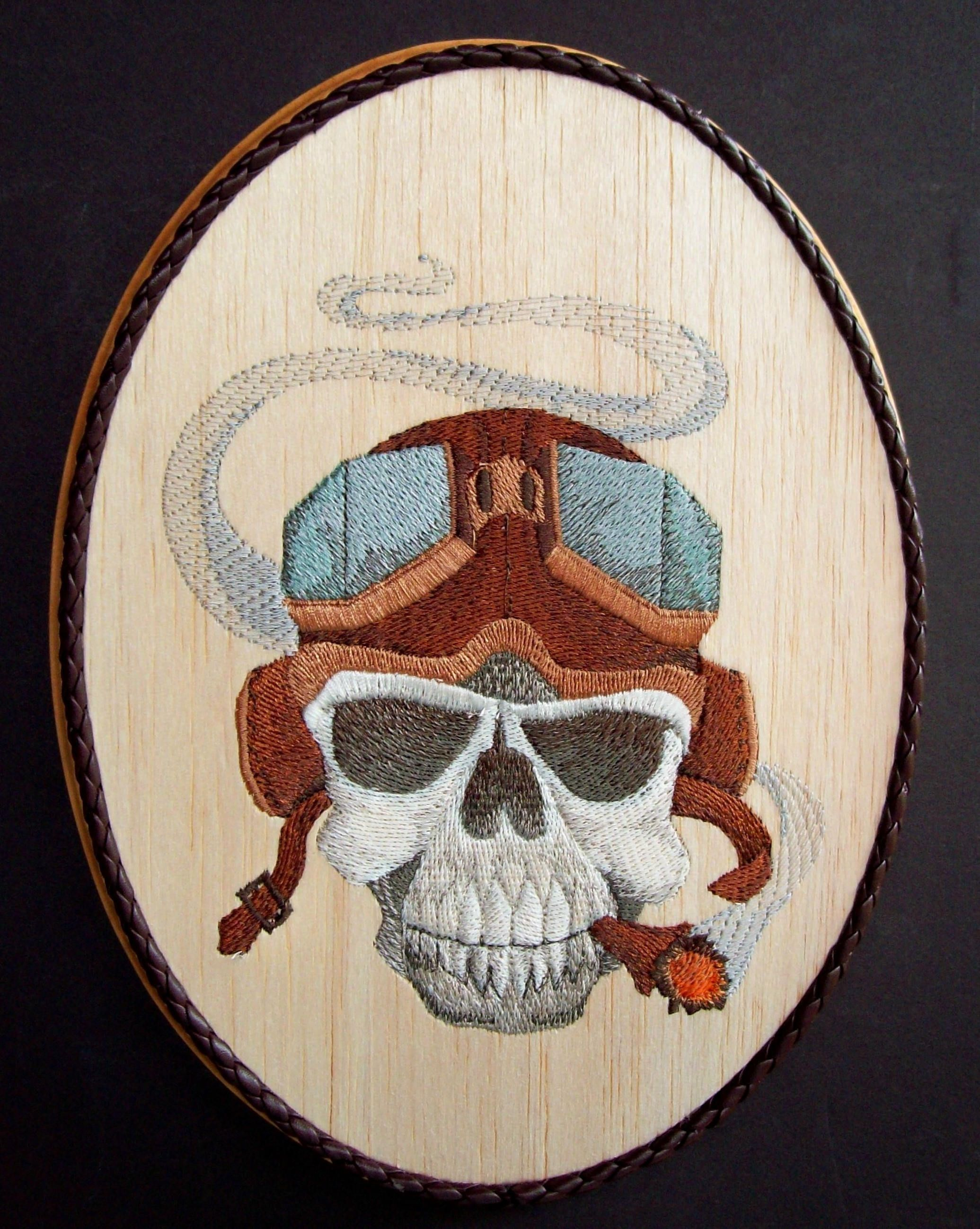 Skull Embroidery On Wood, Man Cave Decor, Steampunk Decor, Gothic