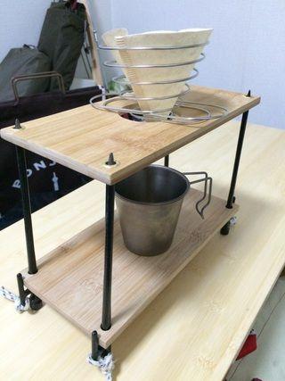 コーヒードリップスタンド自作 ダイソー竹まな板 ソリステ ドリップスタンド キャンプコーヒー 竹