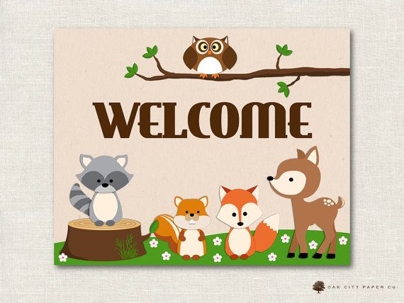 Woodland Animal Baby Shower Welcome Sign by OakCityPape ...