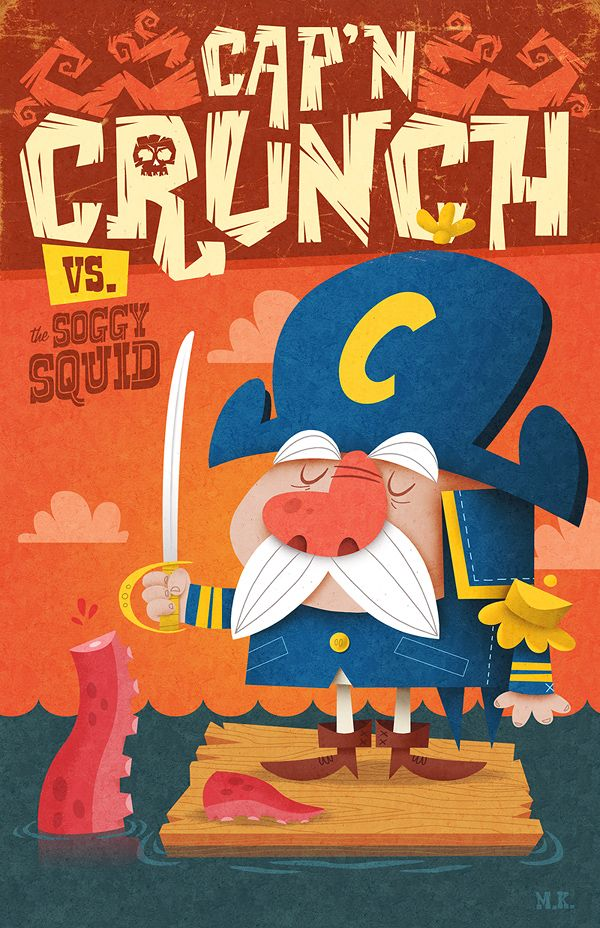Cap N Crunch Vs Soggy Squid By Mattkaufenberg On Deviantart Book Illustration Art Retro Illustration Graphic Illustration