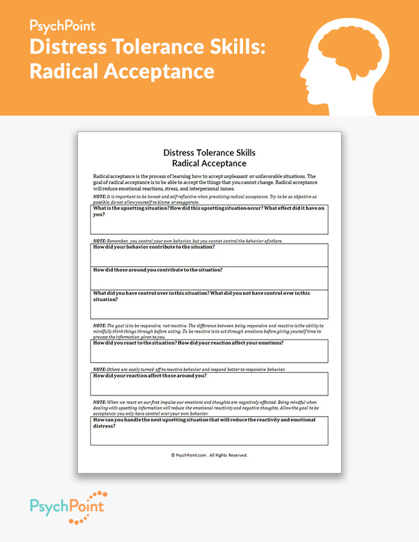 Fresh Ideas - Distress Tolerance Skills Radical Acceptance Worksheet