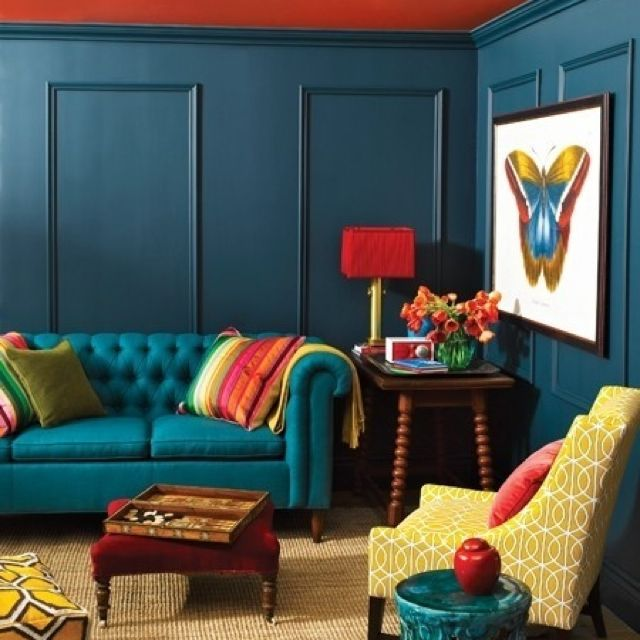 Teal And Yellow And Red Colorful Living Room Design Colourful Living Room Room Colors
