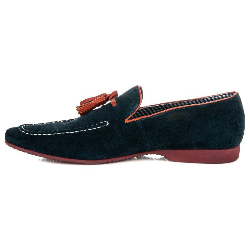 Polbuty Meskie Sorrento Niebieskie Wsuwane Mokasyny Z Fredzlami Sorrento Dress Shoes Men Loafers Men Oxford Shoes