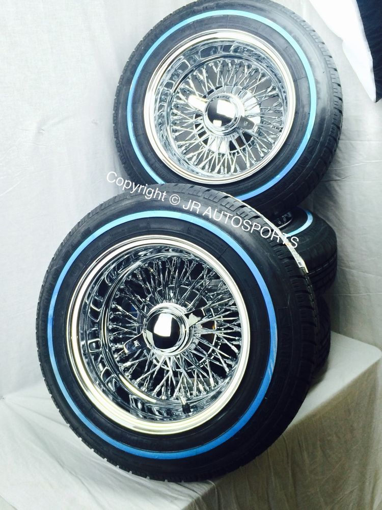 Package includes:(4) 14x7 Reverse 72 Cross Lace Spoke Wire Wheels ...