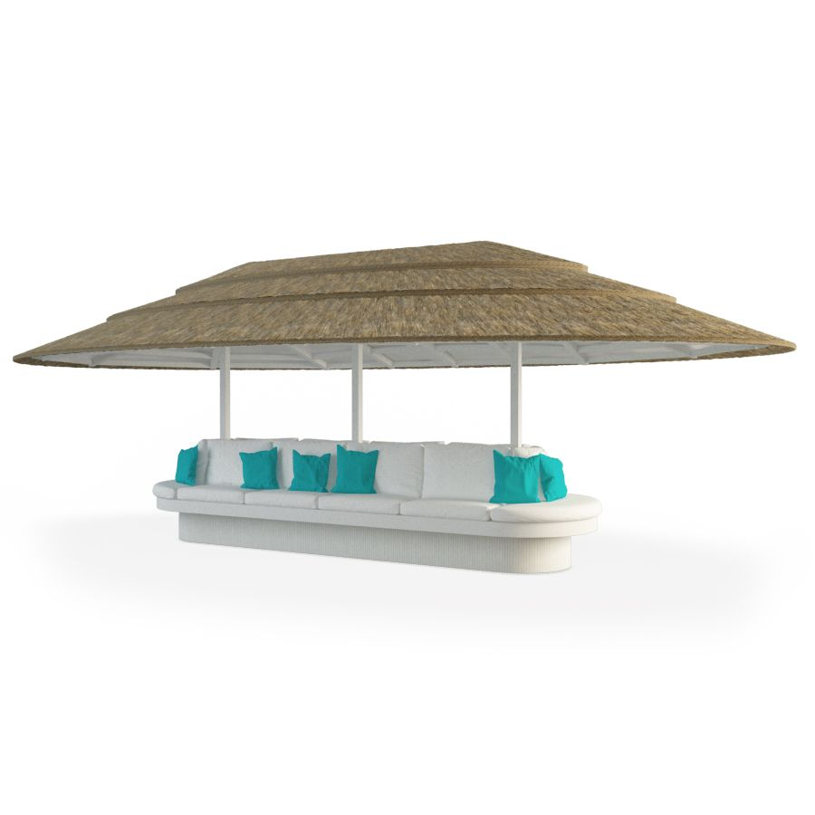 Abri de jardin en bois et assise centrale en 3D. Mobilier ...
