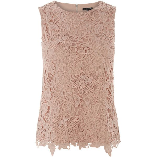 Warehouse Pretty Leaf Lace Shell Top (265 ARS) ❤ liked on Polyvore featuring tops, pink, pink top, sleeveless shell top, beige lace top, shell tops и lacy tops