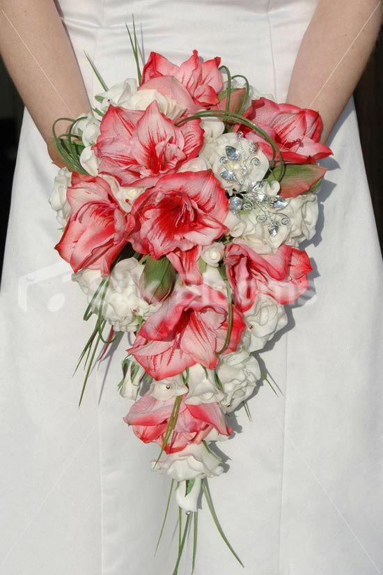 Gorgeous White Red Amaryllis Cascading Bridal Wedding Bouquet By Silk Blooms