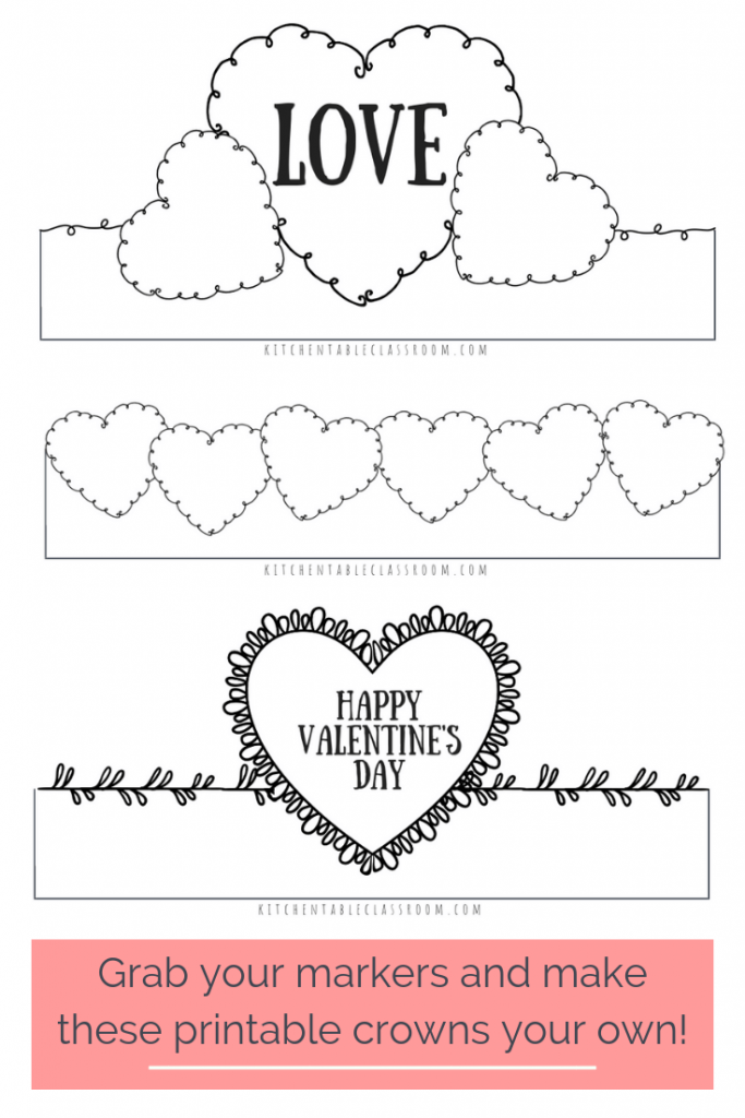 graphic about Printable Valentines Craft identified as Valentines Working day Headbands- Pleasurable Printable Crowns Valentine