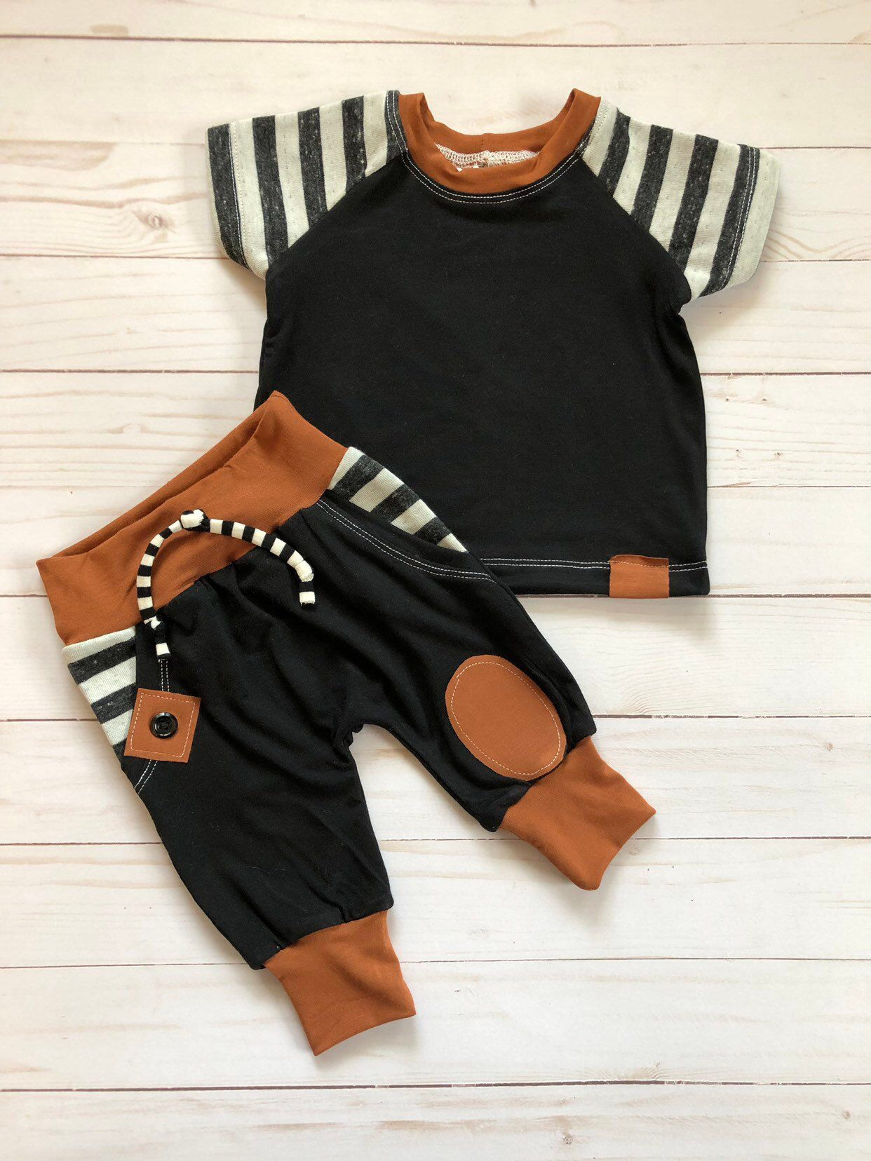 Photo of Baby boy striped 2 piece outfit made with faux pockets, 0-3 month is ready to ship, made to order available, baby boy rust, striped outfit
