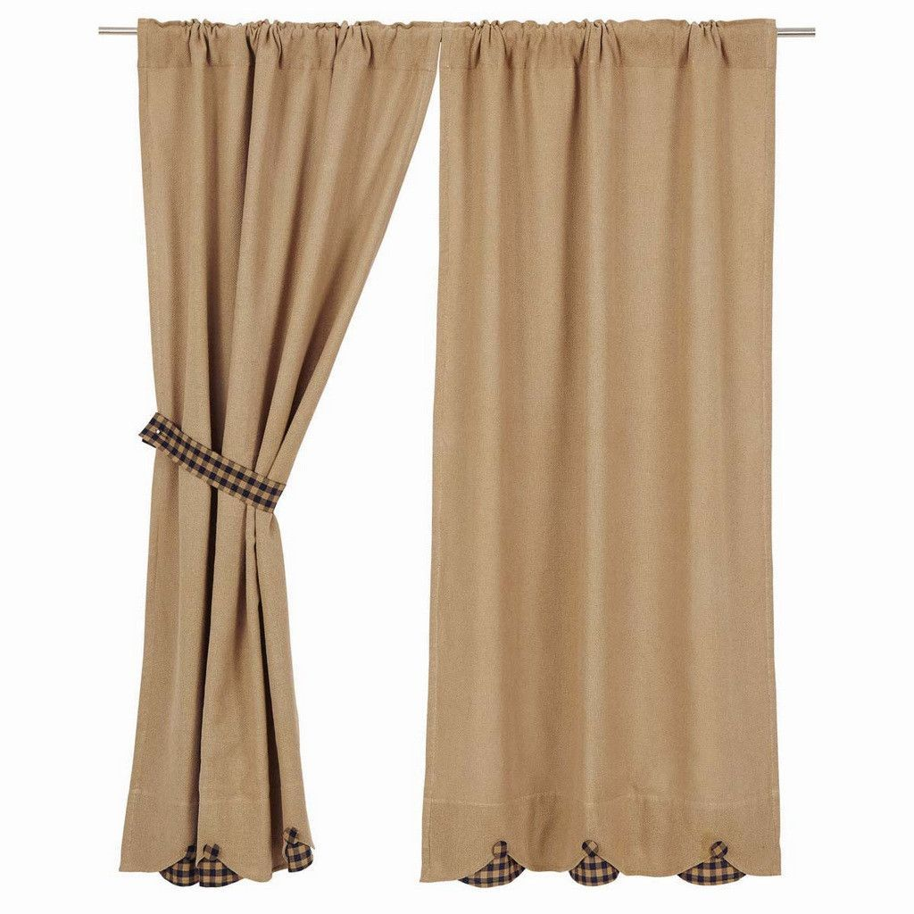 Burlap Navy Check Scalloped Short Panel Curtains 63 Measure 36x63 Each Come In A Set Of 2 Curtain Has Header And