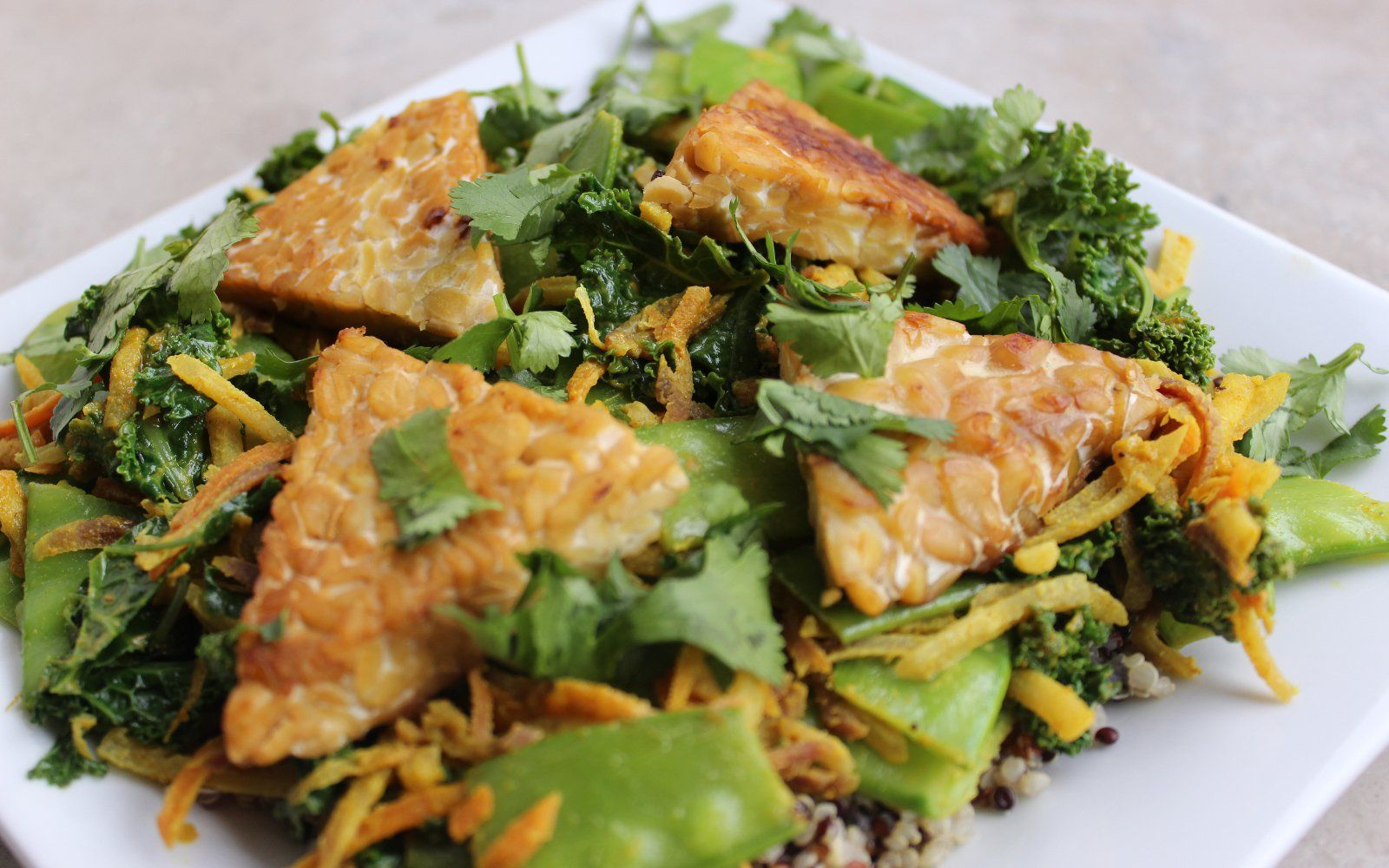 Curried Vegetables With Tempeh Triangles [Vegan, Gluten