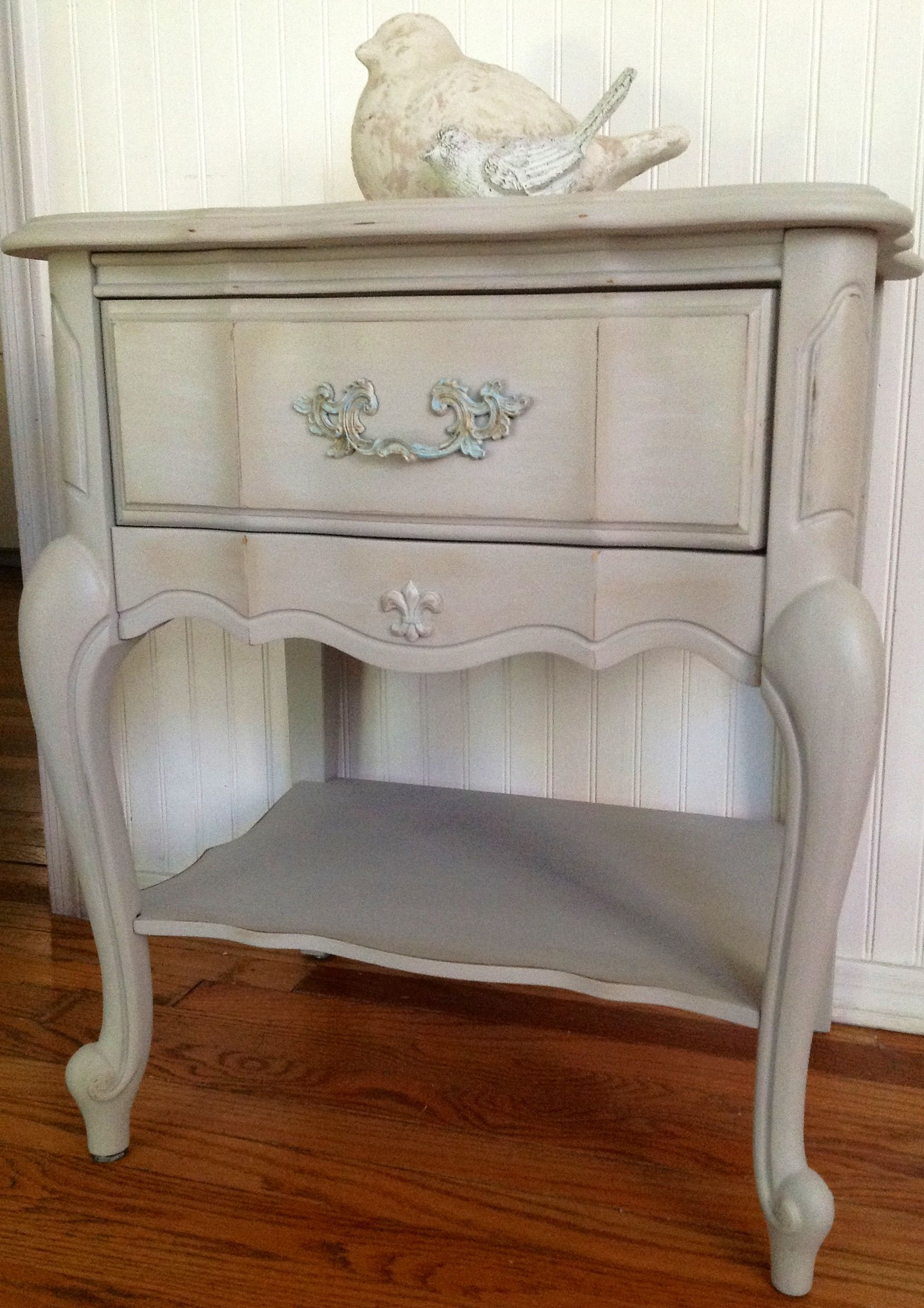 French Provincial Nightstand Creamy Gray Whitewash Lightly