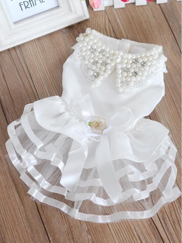 Aliexpress.com: Compre Luxo pérola strass vestidos de cães branco de casamento vestido de noiva saia xs,SML Xl de confiança vestidos de roupas fornecedores em M&A Fashion