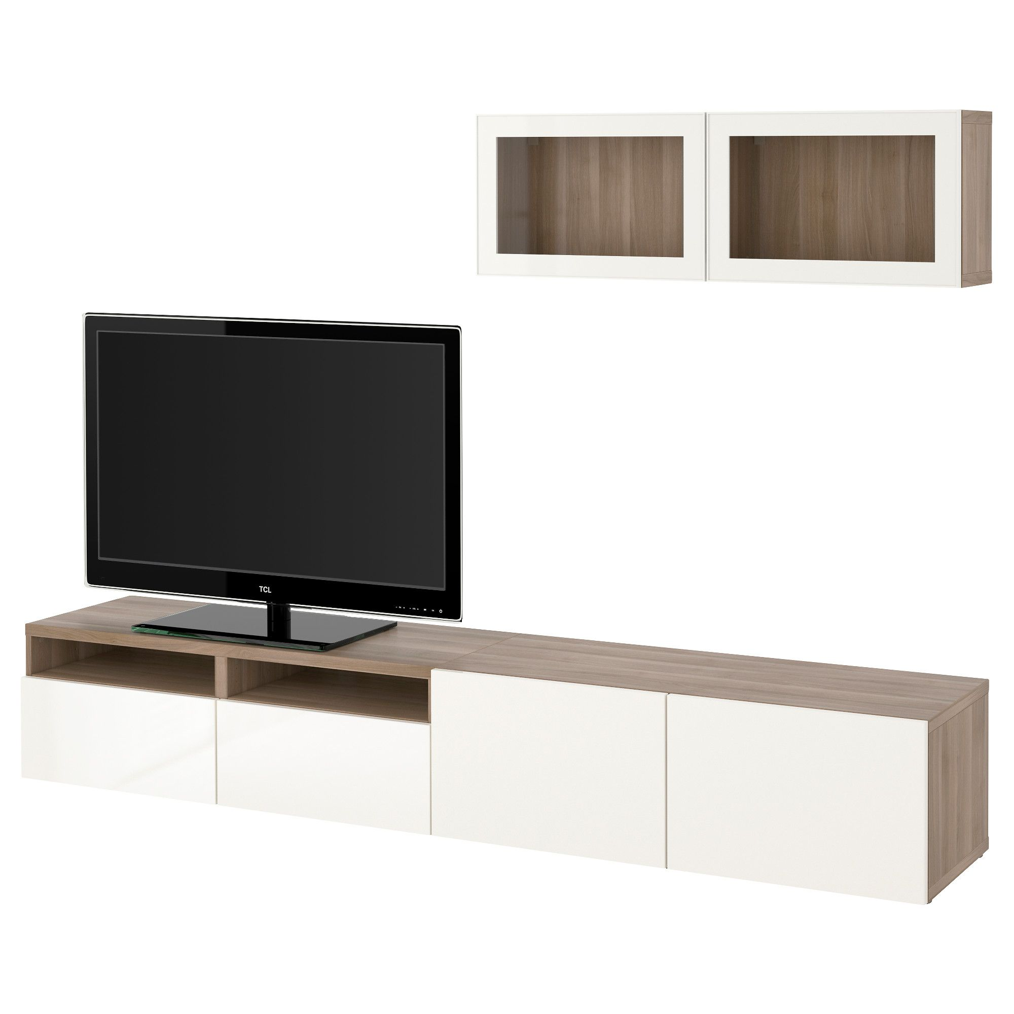 Tv Wand Glas Ikea BestÅ Tv Storage Combination Glass Doors Walnut Effect Light