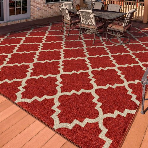 Easy Living Indoor Outdoor Rug Tunnis Cherry Red House Home