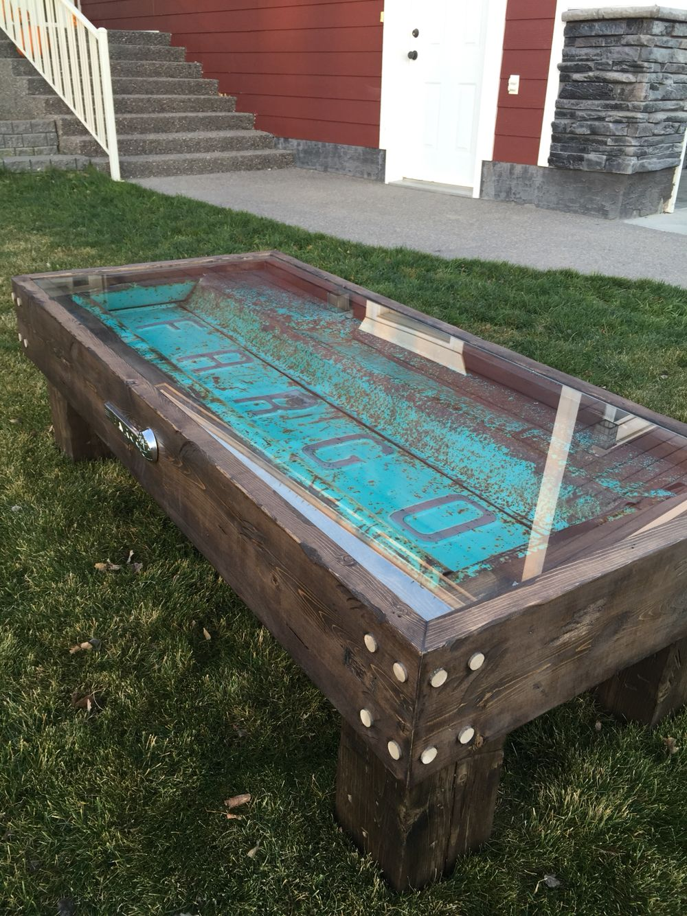 Old Fargo truck tailgate coffee table More - Vintage Ford Tailgate Coffee Table By RustyCustoms On Etsy Cool