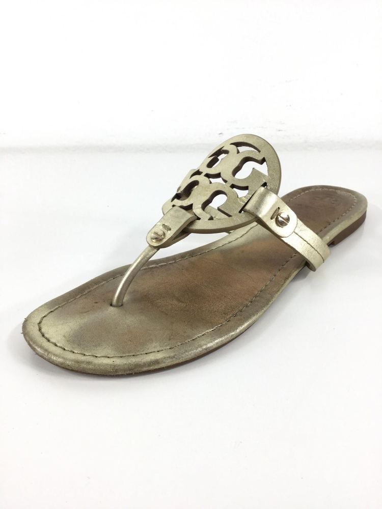 d80884b3637ed4 R28 Tory Burch Miller Spark Gold Leather Thong Sandals Women s Size 9 M   fashion