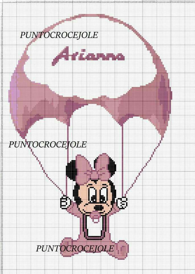 Minnie Mouse x-stitch with balloon | yarn | Pinterest | Punto de ...