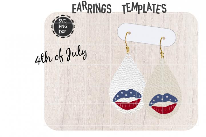 American Flag Lips Earrings Svg / Leather / Faux / Wood