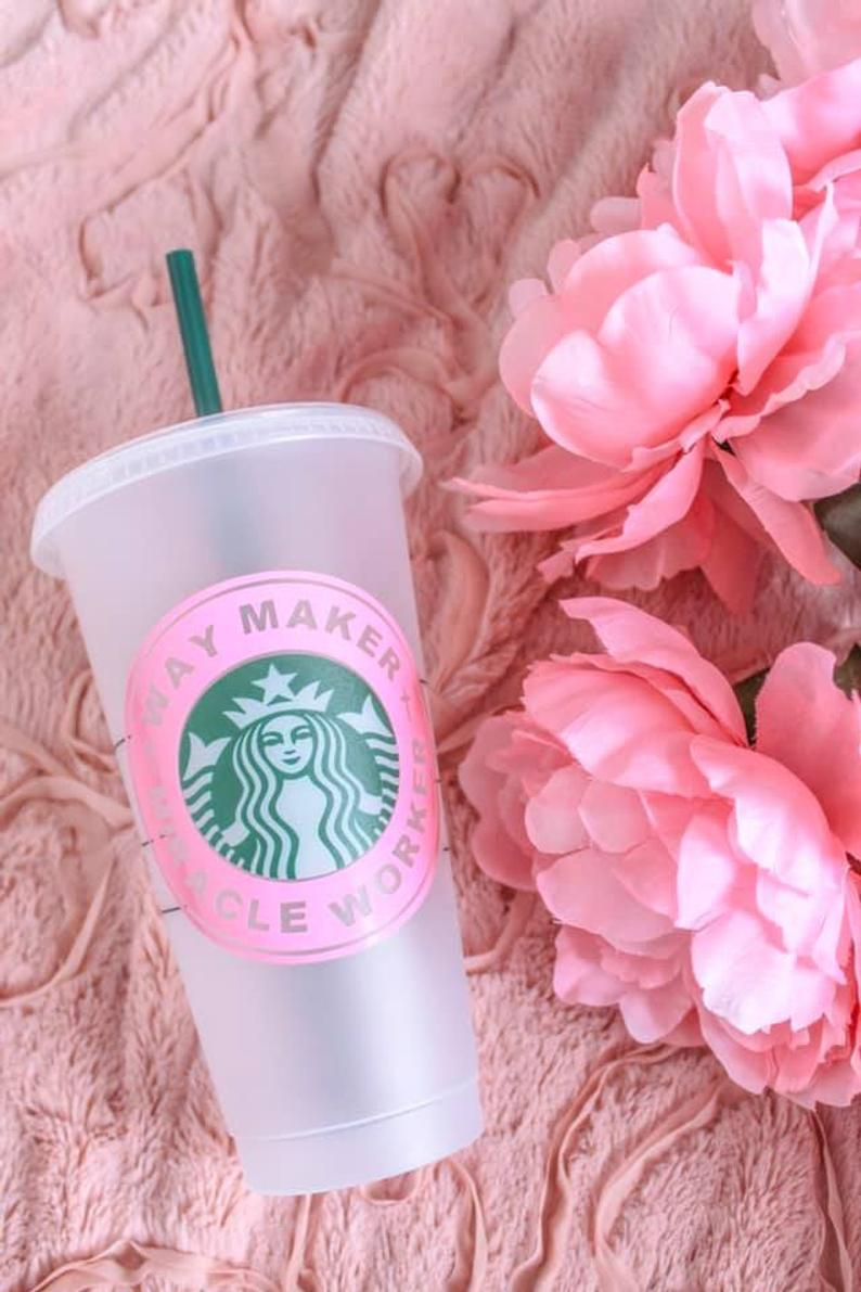 """Christian Quote Starbucks Cups """"Saved by Grace"""