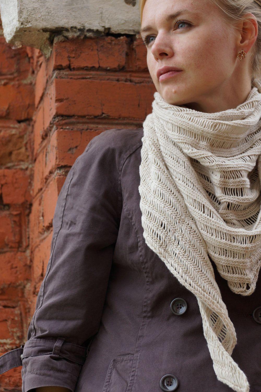 Handmade knitted women shawl scarf merino wool milky beige rustic women gift for her. $56.00, via Etsy.