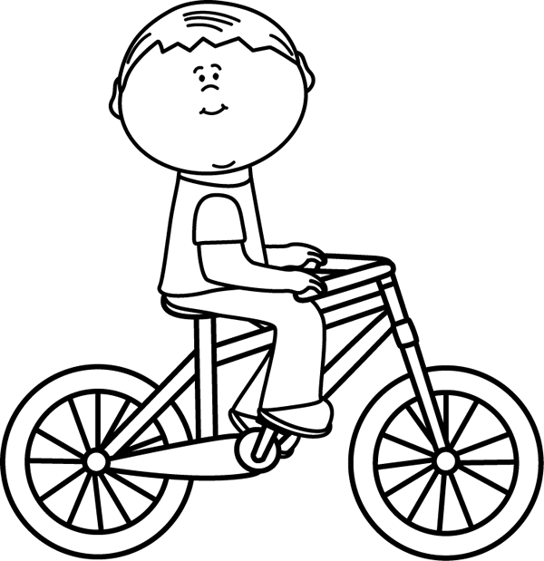 Black And White Boy Riding A Bicycle Desenhos Para Colorir