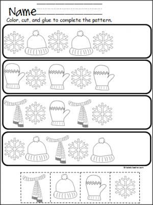 free winter cut and paste pattern practice great for pre k and kindergarten in december. Black Bedroom Furniture Sets. Home Design Ideas