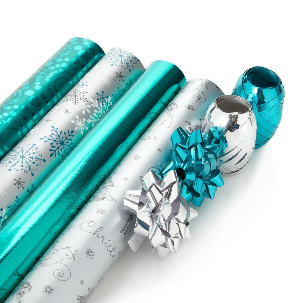 Debenhams Silver And Turquoise Christmas Wrapping Paper Set At Debenhams Com Turquoise Christmas Christmas Wrapping Paper Christmas Wrapping