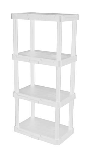 4 Tier White Solid Plastic Shelving Unit At Menards 15 Plastic Shelves Plastic Shelving Units Shelving