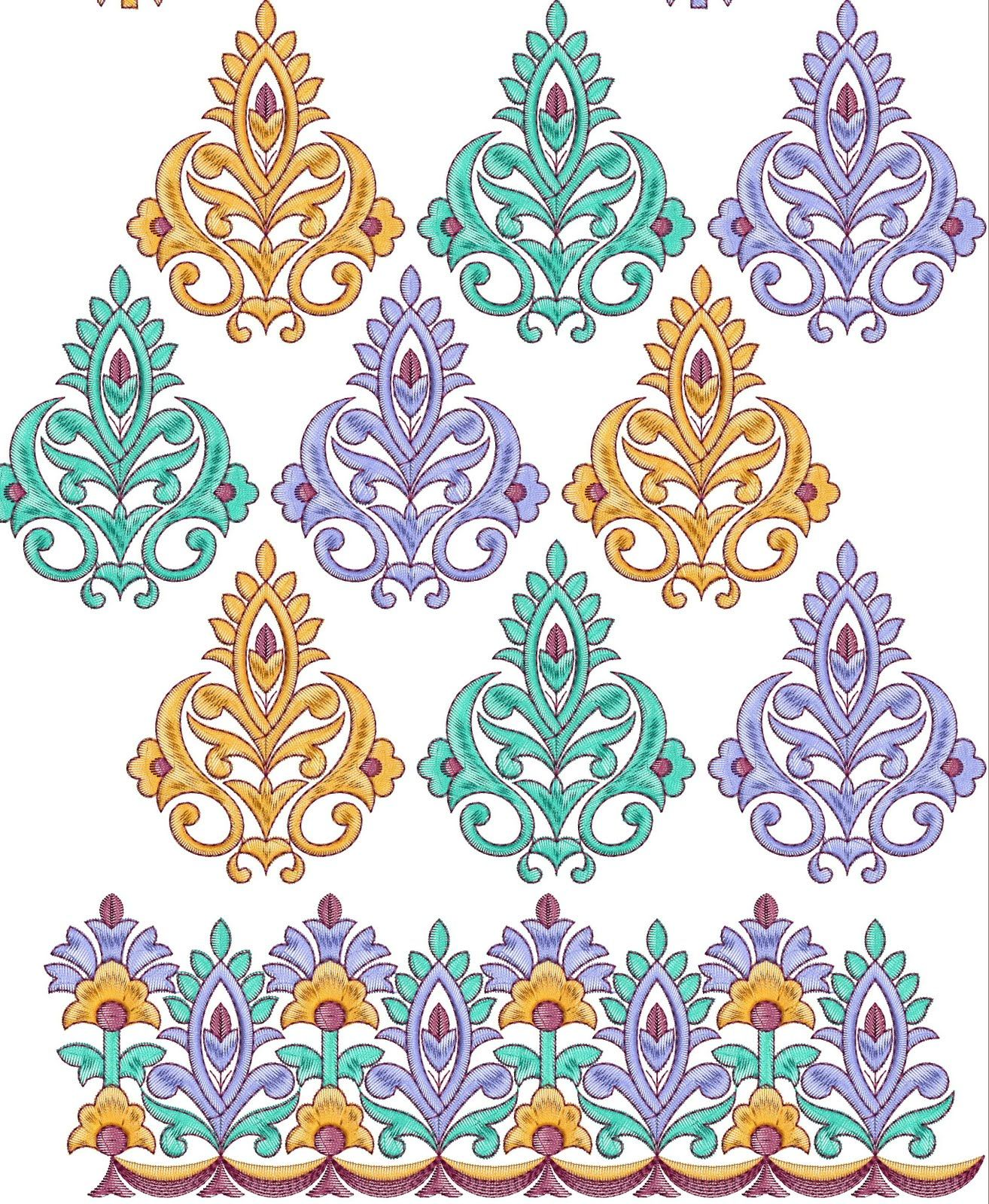 Free design patterns all over border embroidery designs