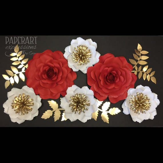 6 Pc Set Red And White Large Paper Flowers Paper Flowers Wall