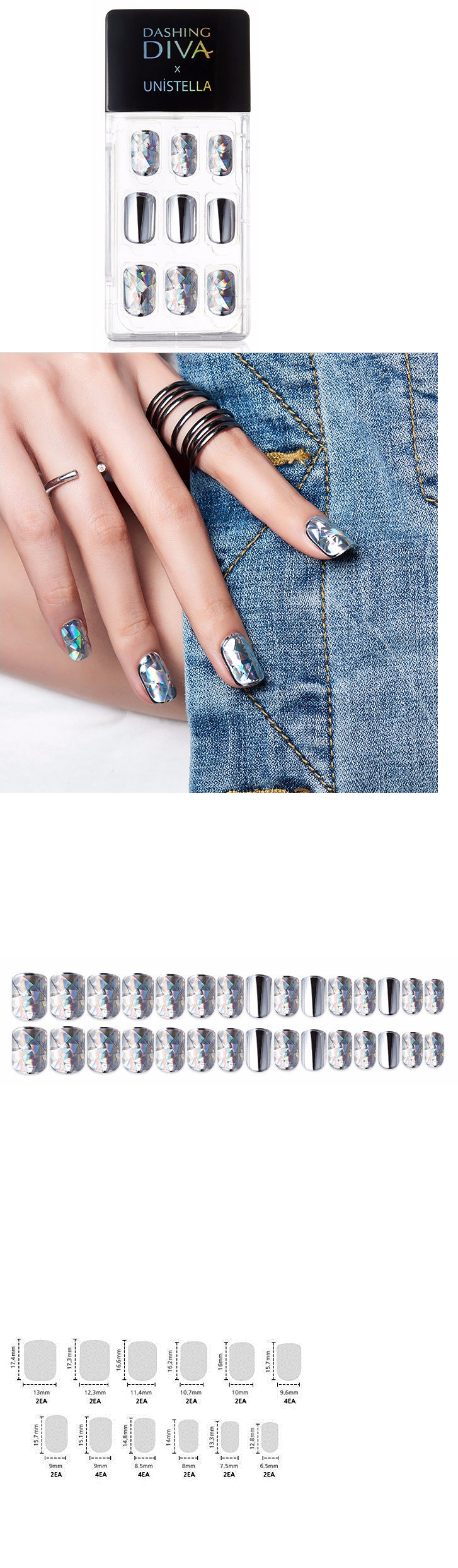 Press-On Nails: Dashing Diva Full Cover Gel Nail Tips, Easy To ...