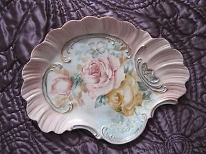 Hand Painted Bavarian Plate Shell Shaped Scalloped Edges Pink and Yellow Roses | eBay