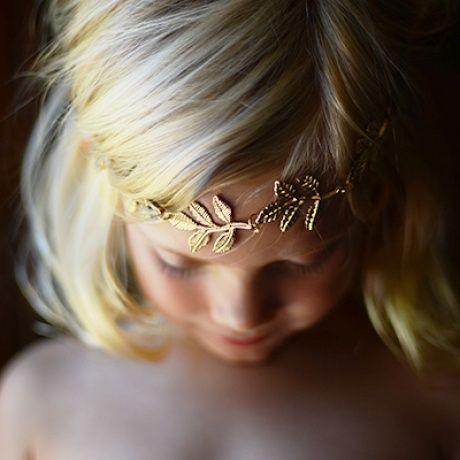 tiara corona clsica para bebs diadema romntica boho chic elstica con hojas metalicas en color