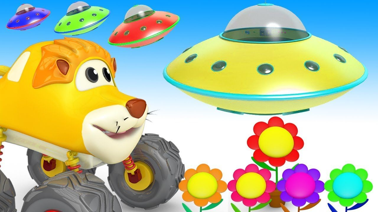 Colors for Children Animal Monster Trucks to Learn with Flowers