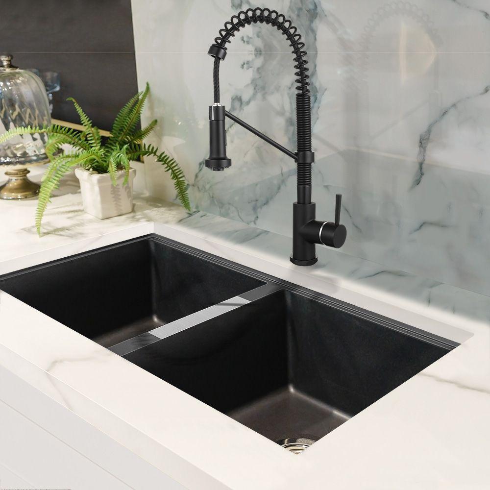 Double Black Granite Kitchen Sink And Black Chef Style Faucet Kitchen Sink Design Black Granite Kitchen Granite Kitchen Sinks