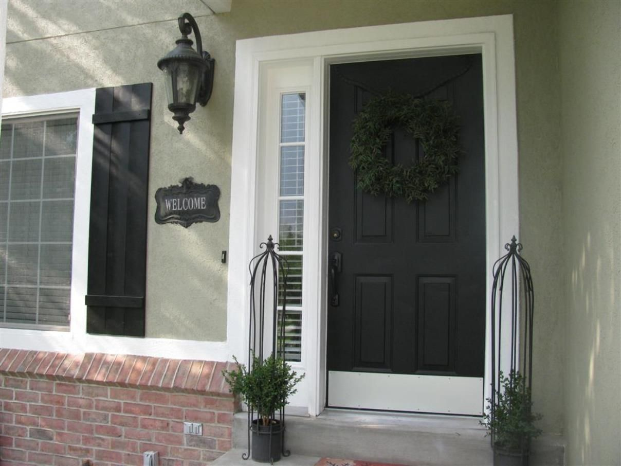 black front door with glass silver kick plate and rubbed bronze
